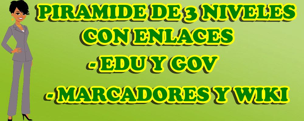 Piramide de 3 niveles con enlaces edu y gov, marcadores y wiki