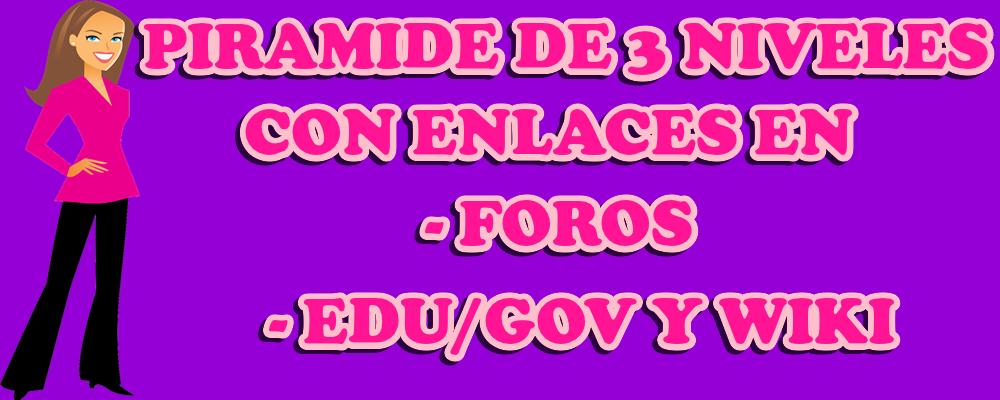 Piramide de 3 niveles con enlaces en Foros, EDU/GOV y Wiki