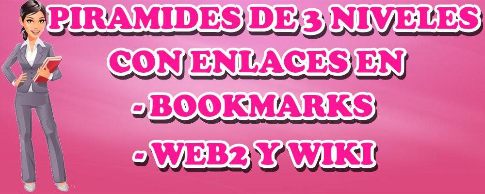 Piramide de 3 niveles con enlaces en bookmarks, web 2 y wiki