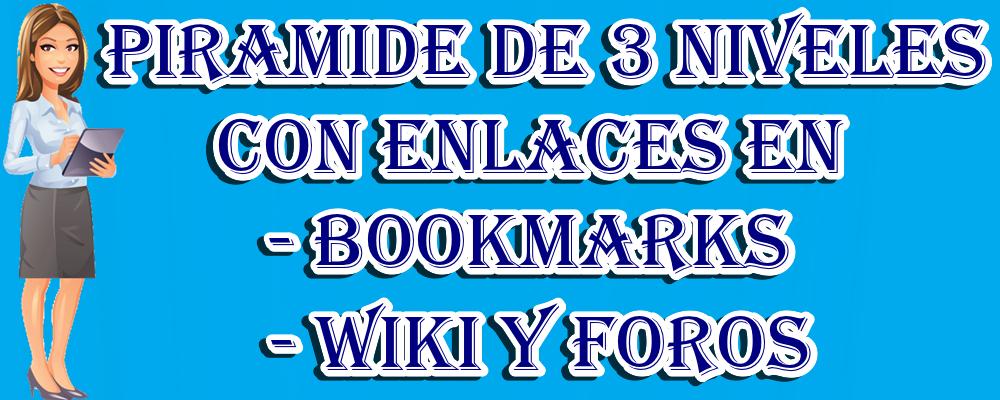 Piramide de 3 niveles con enlaces en Bookmark, Wiki y Foros