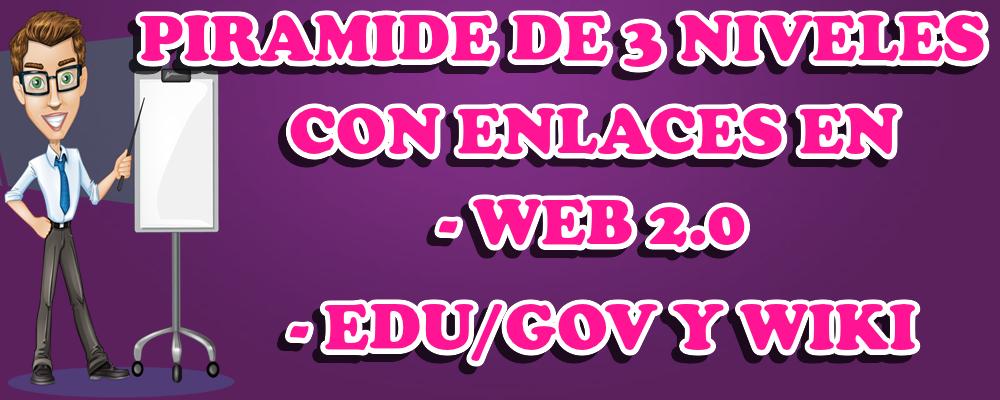 Piramide de 3 niveles con enlaces en Web 2.0, EDU GOV y Wiki