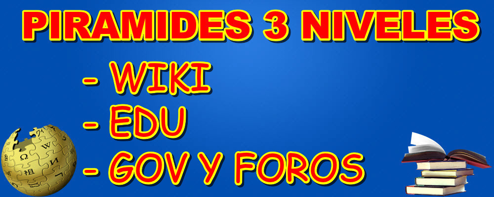 Piramide de 3 niveles con enlaces en Wikis, EDU/GOV y Foros